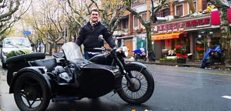 A driver with his sidecar